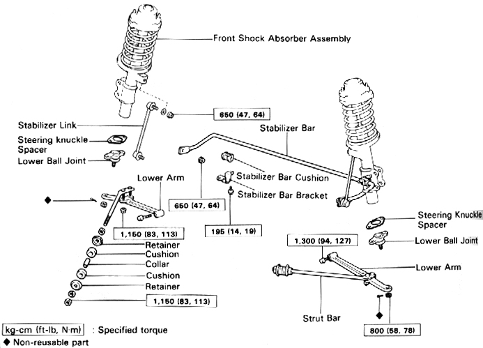 Front End Suspension Parts Diagram on 2000 toyota ta a engine diagram